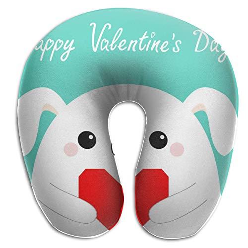 Almohada para el Cuello Feliz día de San Valentín Perro Blanco Cachorro Almohada de Viaje en Forma de U Diseño ergonómico Contorneado Funda Lavable