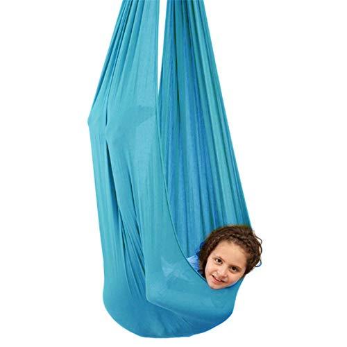 Hamaca de yoga para interior y terapia sensorial con autismo, para niños con autismo, ADHD Aspergers (color: azul lago, tamaño: 100 x 280 cm)