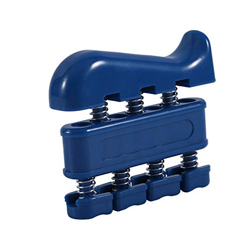 IKAAR - Ejercitador de manos, ejercitador de dedos, fortalecedor de agarre de resorte, sistema de pistón de dedo, aislar y ejercitar cada dedo, para músicos, escalada en roca y terapia, color azul