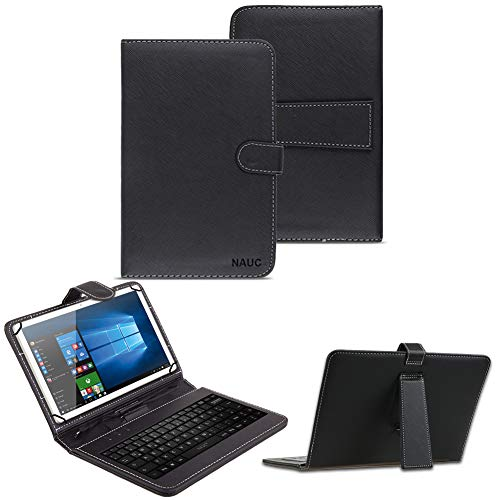 NAUC Keyboard Micro USB Tastatur für 10-10.1 Zoll Tablet QWERTZ Tastatur Schutzhülle Kunstleder Standfunktion Magnetverschluss, Tablet Modell für:Trekstor Surftab Wintron 10.1