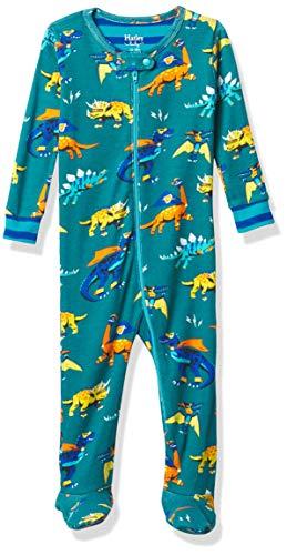 Hatley Organic Cotton Footed Sleepsuit Mamelucos para bebés y niños pequeños, Superhéroe Dinosaurios, 9-12 Meses
