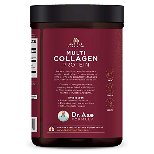 Ancient Nutrition Multi Collagen Protein Powder - Pure, Formulated by Dr. Josh Axe, 5 Types of Food Sourced Collagen Peptides, Supports Joints, Skin and Nails, Made Without Gluten
