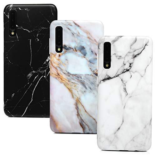 MUSESHOP 3X per Samsung Galaxy A50 Marmo Custodia, Premium Marmo Modello Morbido TPU Case Cover per Samsung A50 Bumper Flessibile Silicone Gel Ultra Sottile Cover - Nero, Grigio Bianco, Viola-Grigio