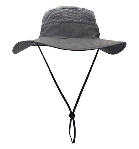 Home Prefer Men s Sun Hat UPF 50+ Wide Brim Bucket Hat Windproof Fishing Hats (Dark Gray)