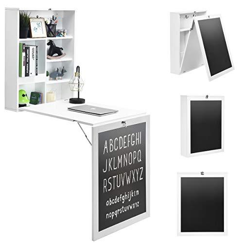 DREAMADE Wandtisch Klappbar, Wandklapptisch mit Memoboard, Bartisch Schreibtisch Esstisch mit Stauraum, Wandschrank Küchentisch Verformbar (Weiß)