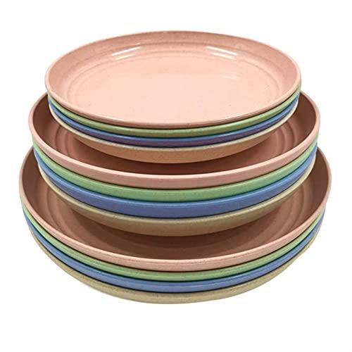 12 Paquetes de platos de paja de trigo, platos de cena, plato de cena, para ensalada, pasta, bistec, fruta (6.8 pulgadas, 7.8 pulgadas, 8.8 pulgadas) Ligero, BPA Placas seguras de microondas gratis pa