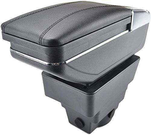 Almacenamiento doble Coche Central Box Caja Consola Centro de Consola Black Almacenamiento...