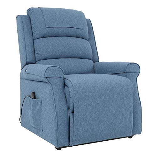Five Stars Furniture Power Lift Recliner Chair Electric Sofa Linen Fabric Living Room Bedroom Chair with Side Pocket,Remote Control for Elderly (Blue)