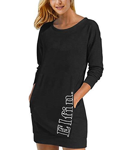 ELFIN Damen Sweatkleid Langarm Kleider Sweatshirt Dress Lässig Sportliche Longshirt Tops Minikleider mit Logodruck Herbst