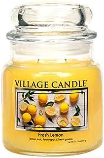Village Candle Fresh Lemon, Medium Glass Apothecary Jar Scented Candle, 13.75 oz, Yellow