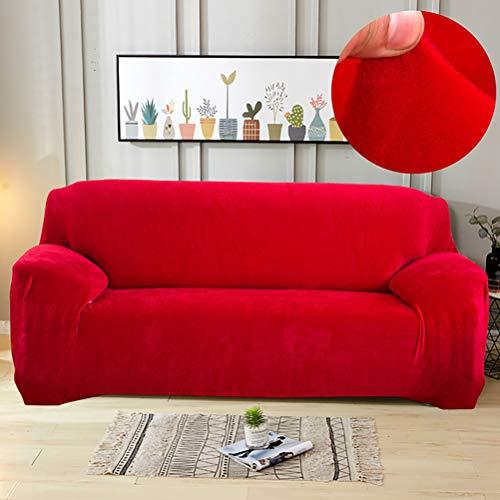Funda protectora para sofá de terciopelo ultrasuave, colores sólidos, elastano, elástica, antipolvo, antideslizante, para salón, color rojo, 35 '-55 pulgadas