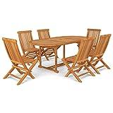 vidaXL Bois de Teck Massif Salon de Jardin 7 pcs Ensemble de Salle à Manger Mobilier de Repas Table et Chaises à Dîner Extérieur Patio
