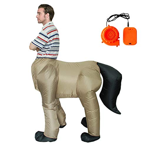 niumanery Halloween Costume for Adult Men Centaurus Inflatable Horse Body Human Face Cosplay Fancy Party Dress
