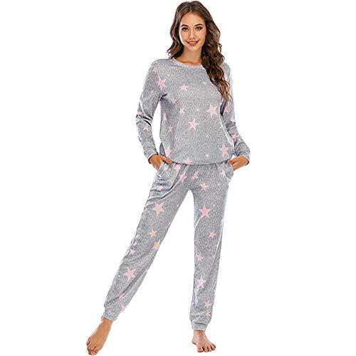 SAMGU Pijamas para Mujer Invierno 2 Piezas Conjunto Camiseta y Pantalones Largo Ropa