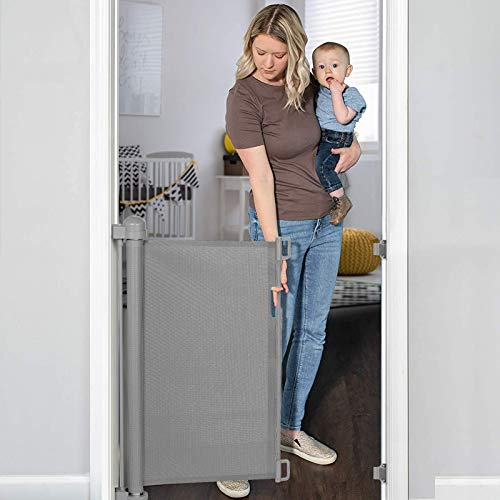 """YOOFOR Retractable Baby Gate, Extra Wide Safety Kids or Pets Gate, 33"""" Tall, Extends to 55"""" Wide, Mesh Safety Dog Gate for Stairs, Indoor, Outdoor, Doorways, Hallways(Grey)"""