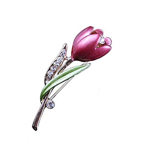 AILUOR Women's Elegant Enamel Tulip Flower Brooch Pin Purple Adjustable