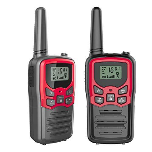 MYhose Lector de Radio Walkie Talkies para Adultos de Largo Alcance, Paquete de 4 radios de 2 vías, hasta 5 Millas de Alcance en Rojo, 2 Piezas