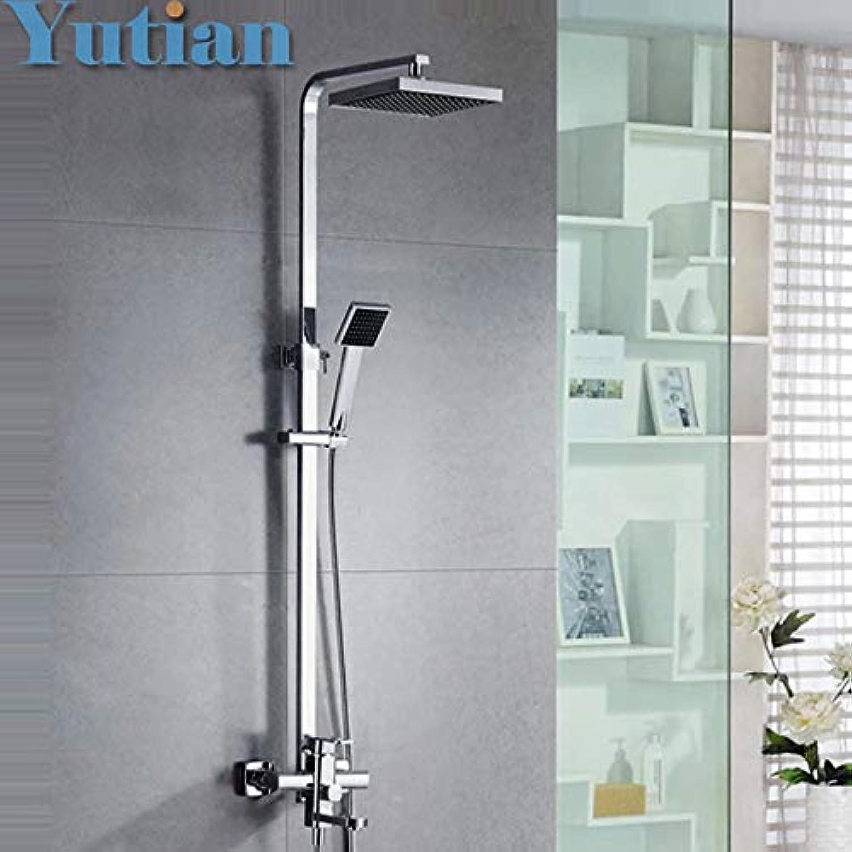 Free shipping Polished Chrome Finish 8  Rain Shower Faucet Set Bathtub Mixer Tap Shower Column YT-5306,Weiß
