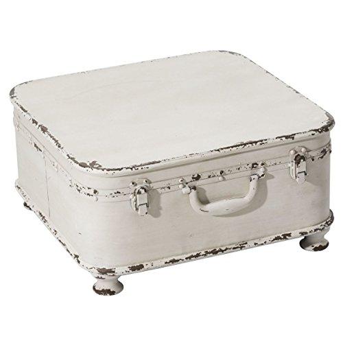 Pureday miaVILLA Beistelltisch Koffer - Shabby Chic - Metall - Weiß
