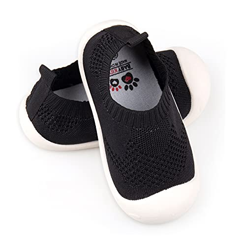 Baby First-Walking Shoes 1-4 Years Kid Shoes Trainers Toddler Infant Boys Girls Soft Sole Non Slip Cotton Mesh Breathable Lightweight Slip-on Sneakers Outdoor(Black,4 Toddler) T15