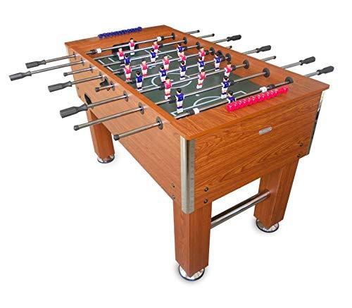 Devessport - Futbolín Salón Marrón Ideal para Jugar con Amigos - Profesional - Gran tamaño - Barras de Metal - Mango de plástico - Medidas: 140 x 74 x 88 cm - Dispone de marcadores