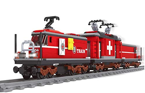 Motorisierter Bausteine Zug Schweizer Krokodil Güterzug mit Schienenteile, 529 Klemmbausteine