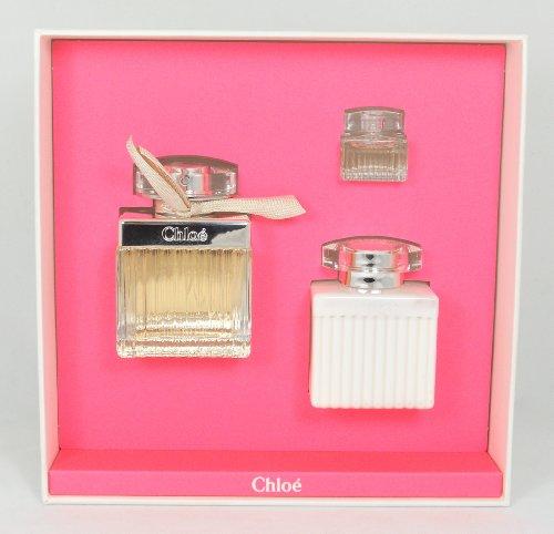 CHLOE NEW by Chloe Gift Set for WOMEN: EAU DE PARFUM SPRAY 2.5 OZ & BODY LOTION 3.4 OZ & EAU DE PARFUM .17 OZ MINI