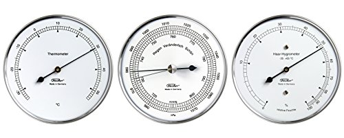 Fischer Wetter-Set - Thermometer Haar-Hygrometer Barometer, Serie Präzis im Edelstahlgehäuse, 100mm, Artikel 117.01, 15.01 und 111.01, Made in Germany