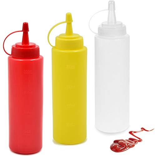 cococity 3pcs Quetschflasche Ketchup 240ml Spender Flaschen 8oz Garnierflasche für Haus, Restaurant, Senf, Mayo, Dressings, Olivenöl, BBQ Sauce- BPA Frei