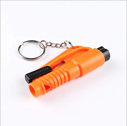 YHBD 2 pcs Llavero 3 en 1 Car Life, martillos de Seguridad de Emergencia, rompe Cristales de Ventana, Llavero de Herramienta de Escape de Coche, Cortador de cinturón de Seguridad。 (Orange)
