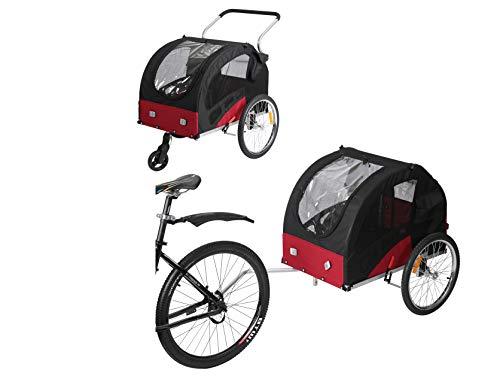 Leonpets Fiximaster Large Size Pet Dog Fahrradanhänger und Kinderwagen mit Aufhängung und Handbremse 10401 Rot/Schwarz