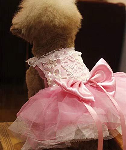 NOBRAND Vestido de Novia de Encaje con Lentejuelas, Trajes de Perro y Gato, Vestido de Princesa Rosa Rosa, Talla 8