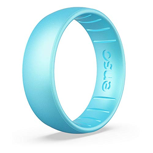 Enso Rings Classic Birthstone Silicone Ring – Unisex Wedding Engagement Band – Comfortable Breathable Band – 6.6mm Wide, 1.75mm Thick (Blue Topaz, 14)