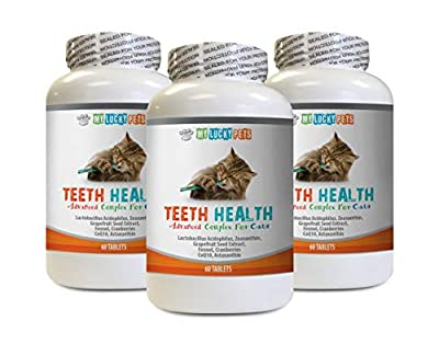 cat Bad Breathe - CAT Teeth Health Formula - Gum and Oral Care - Immune Booster - Advanced Complex - cat Hair Vitamin - 3 Bottles (180 Tablets)