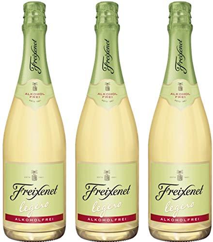 Freixenet Legero, Sekt, Süß, Alkoholfrei (3 x 0,75 l Flasche) - Authentischer Sektgenuss Dank der Rebsorte Moscatel