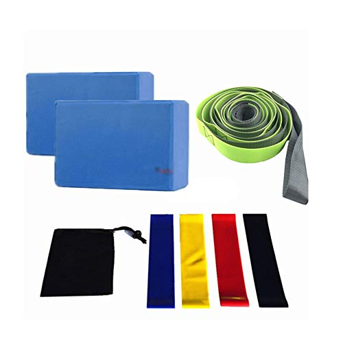 ERSD Yoga Brick Acht-Piece Satz von 12-Loch-Yoga Stretch-Gürtel mit einem Paar Yoga Brick Latex Zugband Schwarz Aufbewahrungstasche (Farbe : Blau)