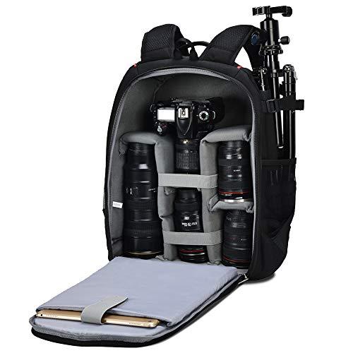Kamerarucksack, CADeN wasserdichte große Kapazität Kameratasche DSLR SLR Bag Diebstahl Professionell Fotorucksack für Spiegelreflexkamera 1/2 Canon Nikon Sony 7 Objektiv Stativ (schwarz)