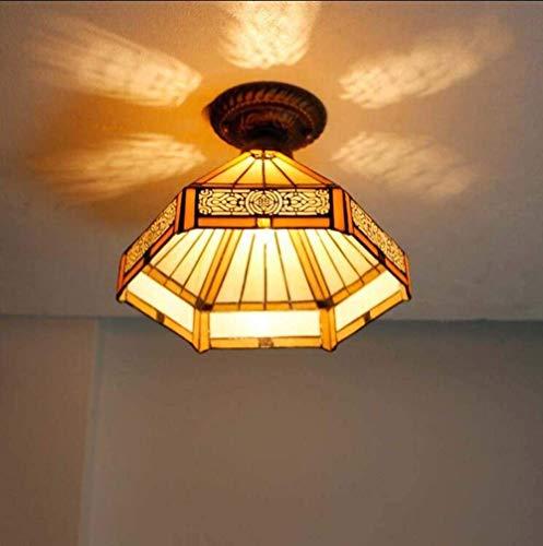 BJClight Lámpara colgante clásica, colgante de techo con pantalla de vidrieras estilo Tiffany, lámpara colgante E27 creativa retro para sala de estar dormitorio Cafe bar-B