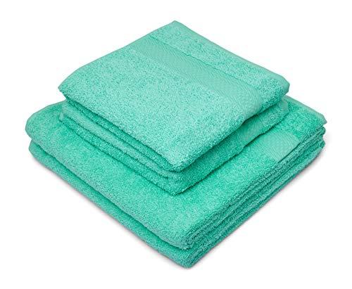 søstre & brødre 2 toallas de mano + 2 toallas de ducha, color menta, 100% algodón rizado, certificado Öko-Tex Standard, fabricado en la UE, calidad extra gruesa 450 g/m²