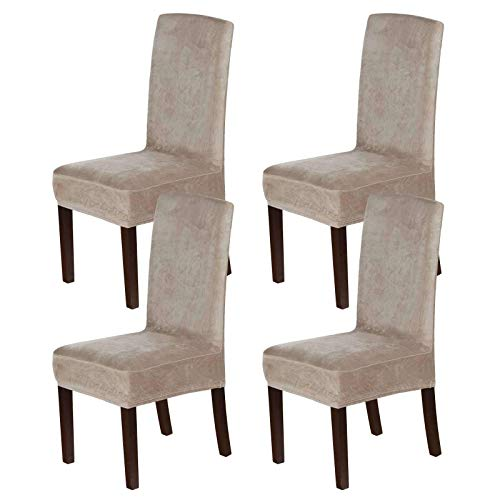 Velvet Dining Chair Covers, Stretch Chair Covers für das Esszimmer 4er-Set Parson Chair Slipcovers Stuhlschutzbezüge Dining Soft Thick Solid Velvet Fabric Washable-Taupe-4 PCS