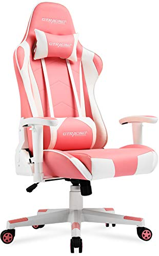 GTRACING Gaming Chair Racing Office Computer Game Chair Ergonomic Backrest and Seat Height Adjustment Recliner Swivel Rocker with Headrest and Lumbar Pillow E-Sports Chair (Pink)