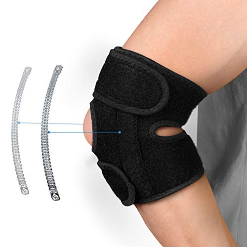 Elbow Brace Compression Sleeve,Future Way Tennis Elbow Brace for Men and Women, Adjustable Elbow Strap with Dual-Spring Stabilizer