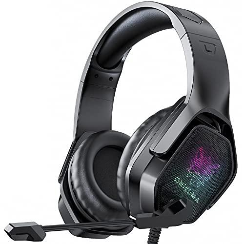 Gaming Headset X4, Kopfhörer mit Mikrofon 7.1 Surround Sound Headset Licht over-Ear Kopfhörer für PC, Xbox, Switch, Laptop