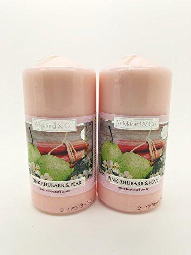 Pack of 2 - 'Pink Rhubarb & Pear' Fragrance Candle (12cm x 6cm Diameter) - Swan household