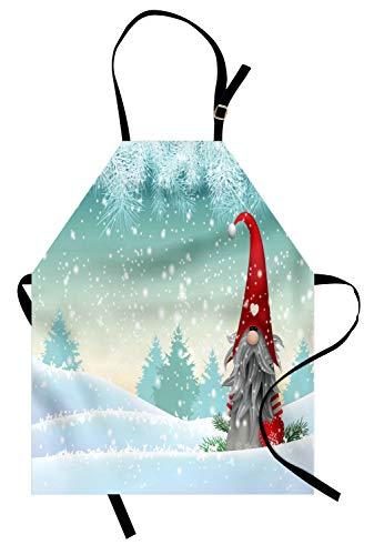 ABAKUHAUS Gnoom Keukenschort, Elf Tomte zich op sneeuw, Unisex Keukenschort met Verstelbare Nekband voor Koken en Tuinieren, Mint Green Blauw van de Baby