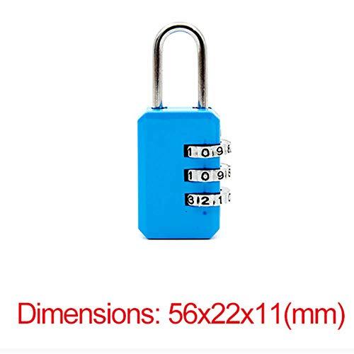 Cilinderslot 3 cijferige wijzerplaat Combinatie Code Nummer Lock Hangslot voor Bagage Rits Tas Rugzak Handtas koffer Lade Duurzame Sloten Blauw