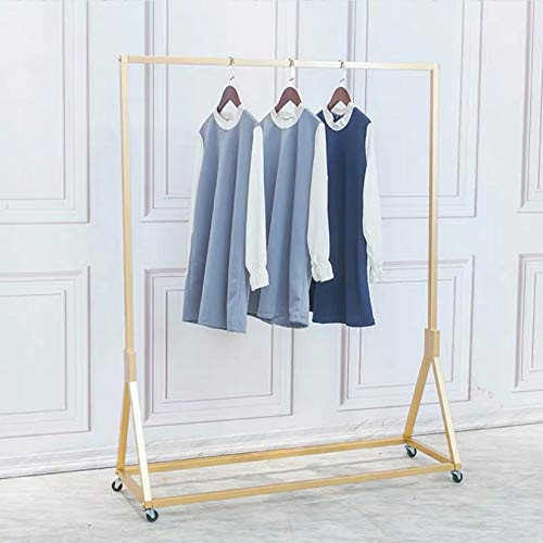 FURVOKIA Modern Simple Heavy Duty Metal Rolling Garment Rack with Wheel,Retail Display Clothing Rack,Wrought Iron Single Rod Floor-Standing Hangers Clothes Shelves (Gold Square Tube A, 47.2 L)