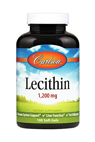 Carlson - Lecithin, Non-GMO, 1200 mg, Nervous System & Liver Function, Unbleached Soy Lecithin, 100 Softgels