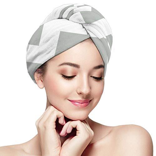 Xuetu Capuchon pour Cheveux secs en Microfibre, Papier Absorbant à séchage Rapide Super Absorbant, Turbans pour Cheveux mouillés - Chevron Gris argenté en Zigzag