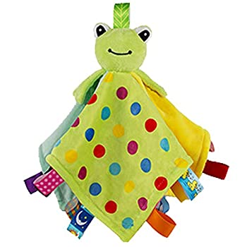 Inchant Taggie Baby Security Blanket with Tags Taggy Comforter Blanket for Toddlers Green Frog Animal Plush Toy